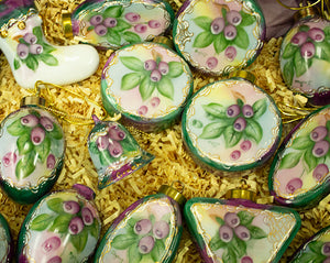 Handpainted Huckleberry Porcelain exqusite Ornaments