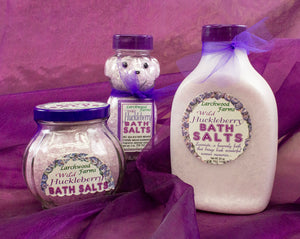 The perfect bouquet and mineral for a divine time in the bath - Huckleberry Bath Salt crafted by Larchwood Farms