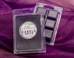 Six pack of deep purple wild huckleberry candle melts - pure hucklberry bliss!