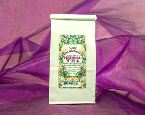 A generous portion of fine huckleberry herbal tea in an elegant white gift bag