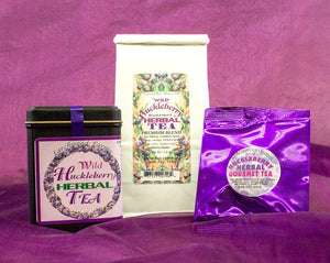 Larchwood Farms family crafted huckleberry herbal tea in elegant, giftable packaging