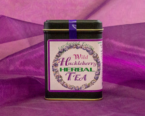 Fine huckleberry herbal tea with a beautiful label and a quality gold rimmed tin