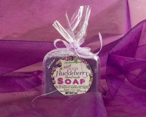 Handmade huckleberry soap crafted by the Larchwood Farms family