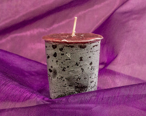Blissful, handmade huckleberry votive candle