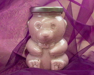 Delicously Delightful Huckleberry Cream Honey in an Elegant Glass Honey Bear