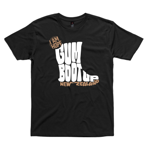 Gumboot Up NZ on a black tee (limited edition)