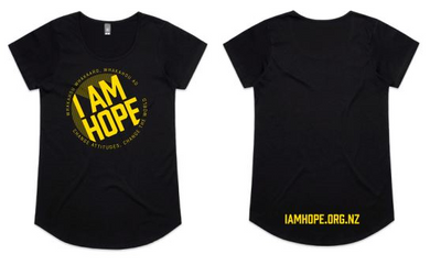 I AM HOPE logo in yellow on a black tee (New Release) WOMENS