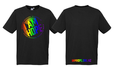I AM HOPE logo in rainbow print on a black tee (New Release) Adults