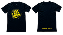 Load image into Gallery viewer, I AM HOPE logo in yellow on a black tee (New Release) MEN'S