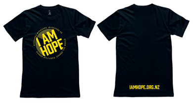 I AM HOPE logo in yellow on a black tee (New Release) MEN'S