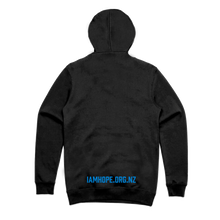 Load image into Gallery viewer, I AM HOPE logo in blue on a black hoody