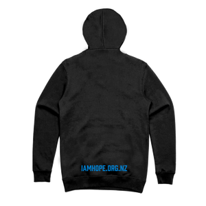 I AM HOPE logo in blue on a black hoody