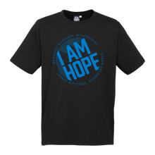 Load image into Gallery viewer, I AM HOPE logo in blue on a black tee