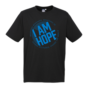I AM HOPE logo in blue on a black tee