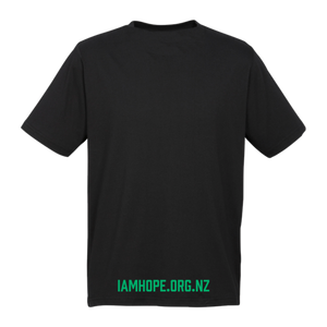 I AM HOPE logo in green on a black tee