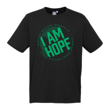 Load image into Gallery viewer, I AM HOPE logo in green on a black tee