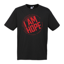 Load image into Gallery viewer, KIDS I AM HOPE logo in red on a black tee