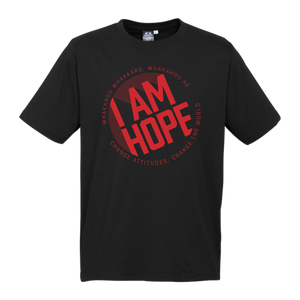KIDS I AM HOPE logo in red on a black tee