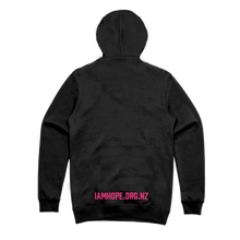 Load image into Gallery viewer, I AM HOPE logo in pink on a black hoody