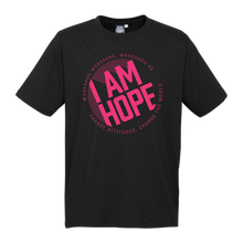 Load image into Gallery viewer, I AM HOPE logo in pink on a black tee