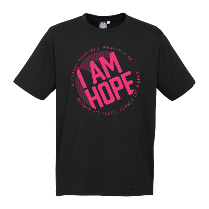 I AM HOPE logo in pink on a black tee