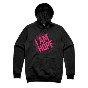 I AM HOPE logo in pink on a black hoody