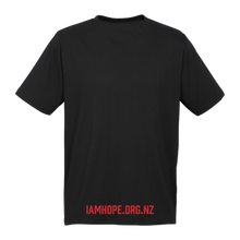 Load image into Gallery viewer, I AM HOPE logo in red on a black tee