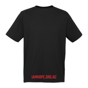 I AM HOPE logo in red on a black tee