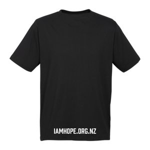 I AM HOPE logo in white on a black tee