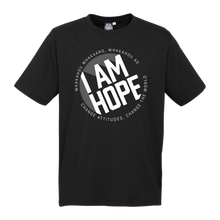 Load image into Gallery viewer, I AM HOPE logo in white on a black tee
