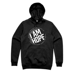 I AM HOPE logo in white on a black hoody