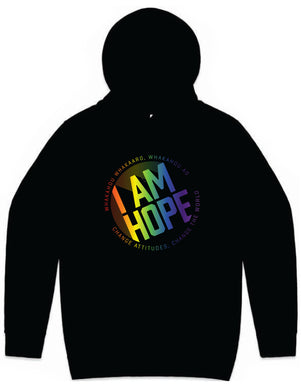 I AM HOPE logo in rainbow print on a black hoodie (New Release Limited Edition) Adults Only