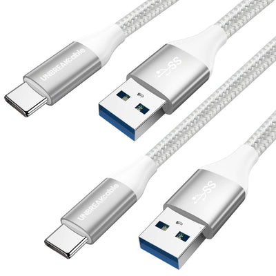 Nylon Braided USB-C to USB 3.0 Cable – 2m [2-Pack]