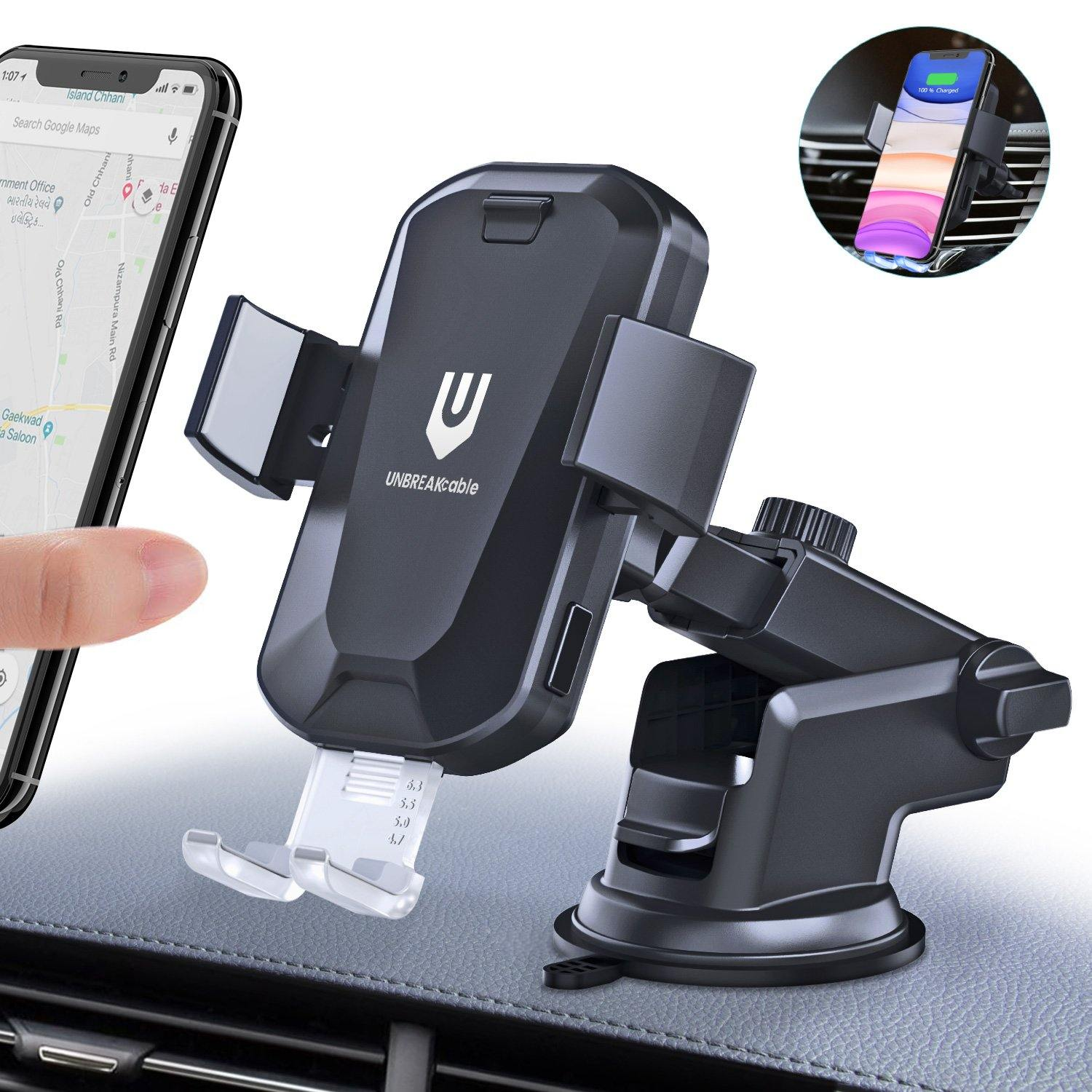 Auto-clamping Wireless Car Charger Mount - UNBREAKcable
