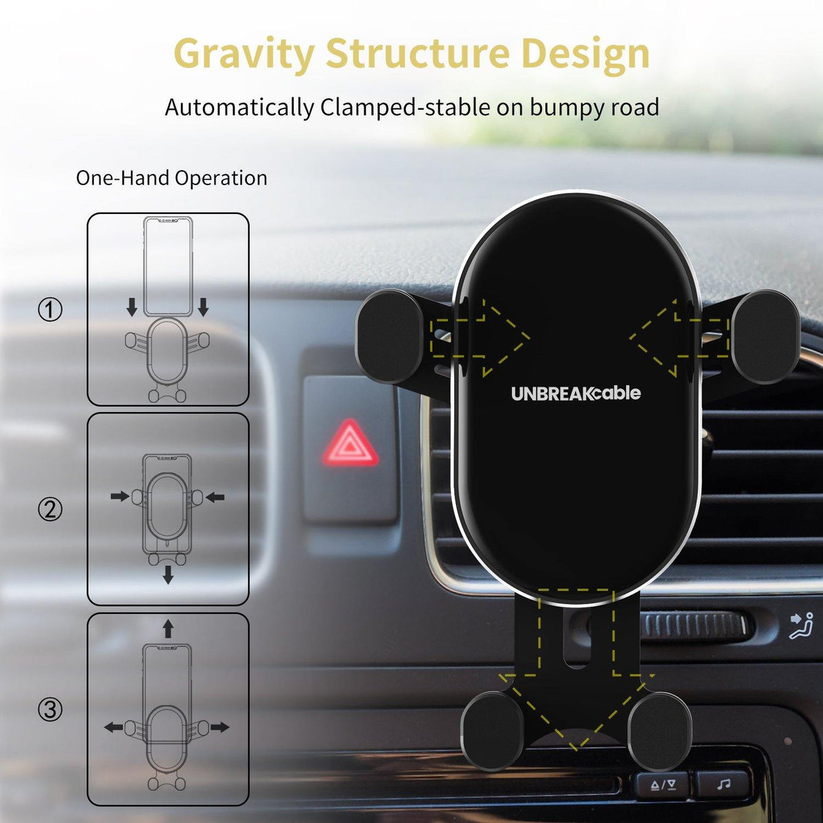 Gravity Car Phone Holder for 4.7'' to 6.5'' Phone
