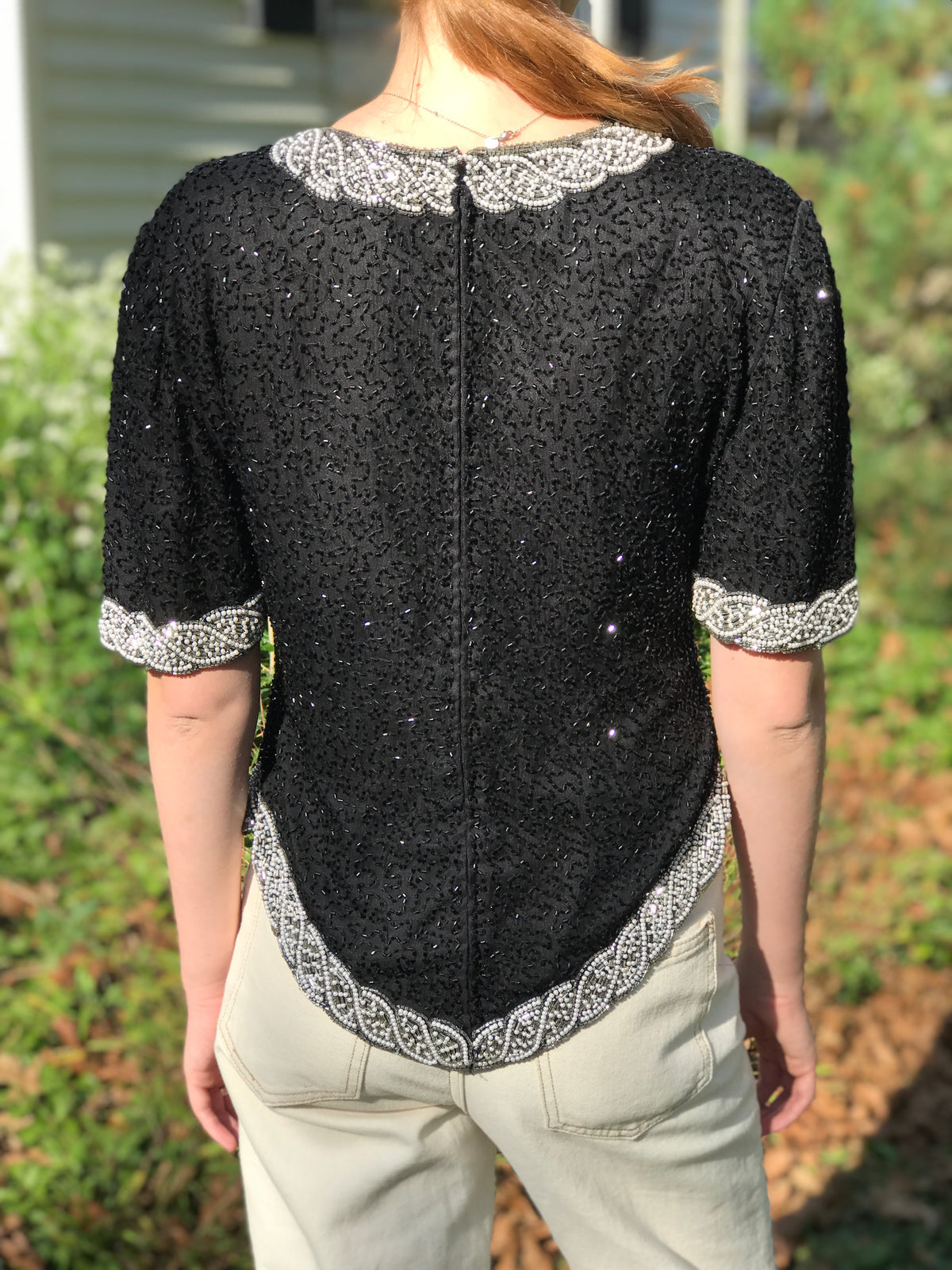 1980s Vintage Elegant Beaded Short Sleeve Blouse