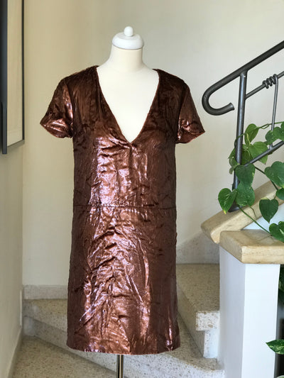 Rochas Designer Fuzzy Vneck Metallic Shift Dress