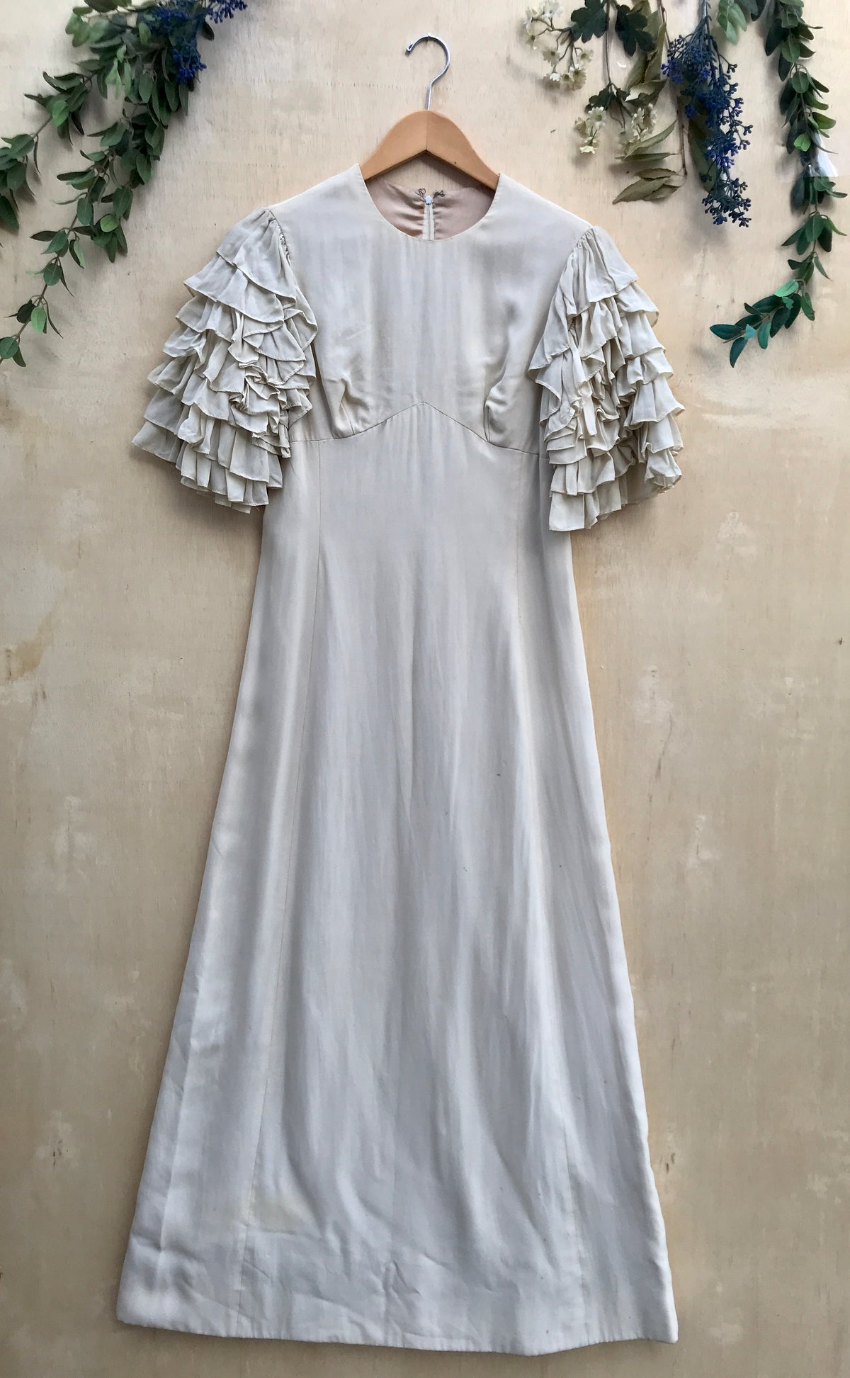 1970s Roxanne Ruffle Sleeved Wedding Dress