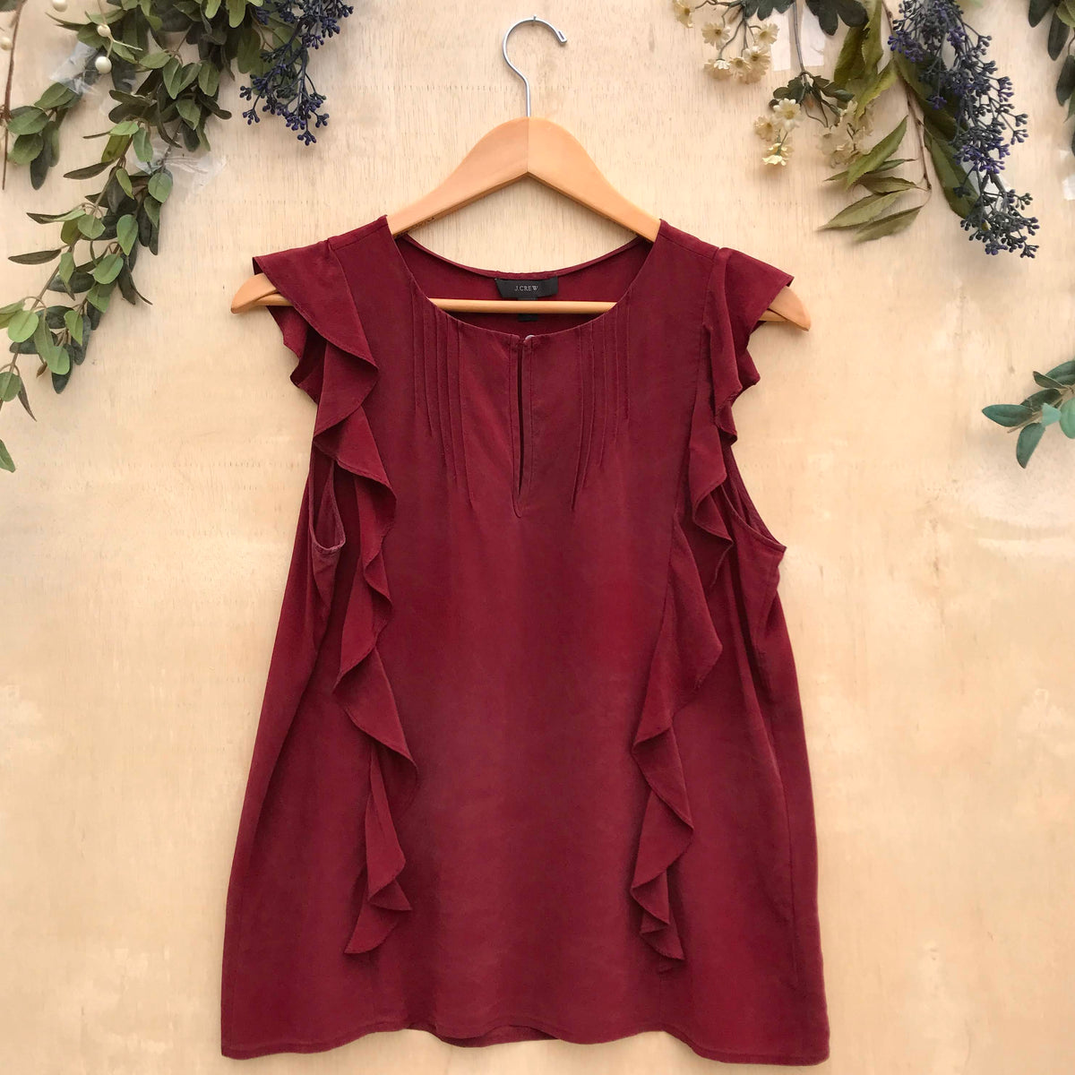 J. Crew Silk Red Sleeveless Ruffle Top