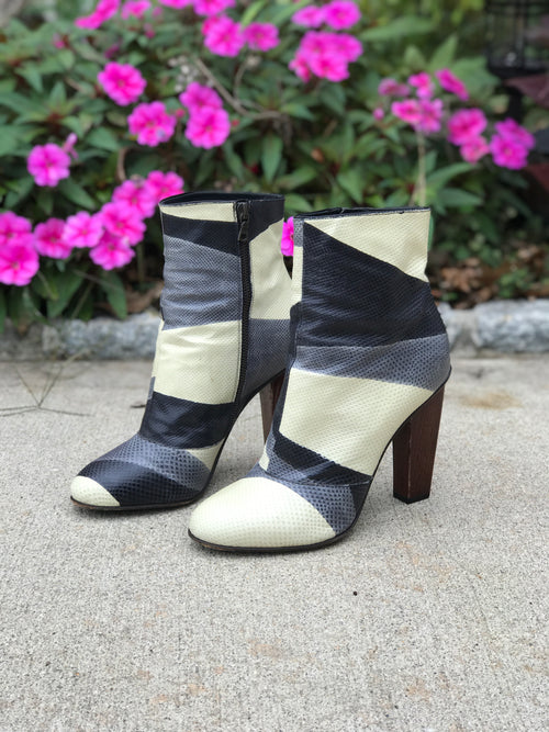 Dries Van Noten Wooden Heel Leather Patchwork Booties