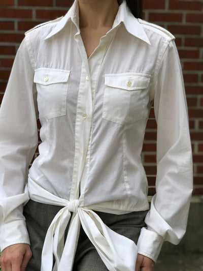 Dolce & Gabbana White Button Down Tie Front Blouse