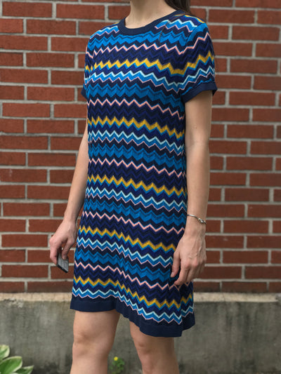 Missoni Chevron Stretchy Short Sleeve Dress