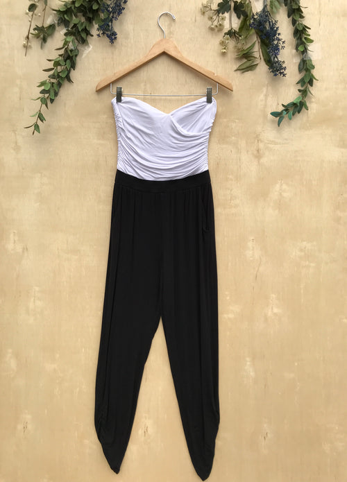 Bebe Black and White Strapless Jumpsuit
