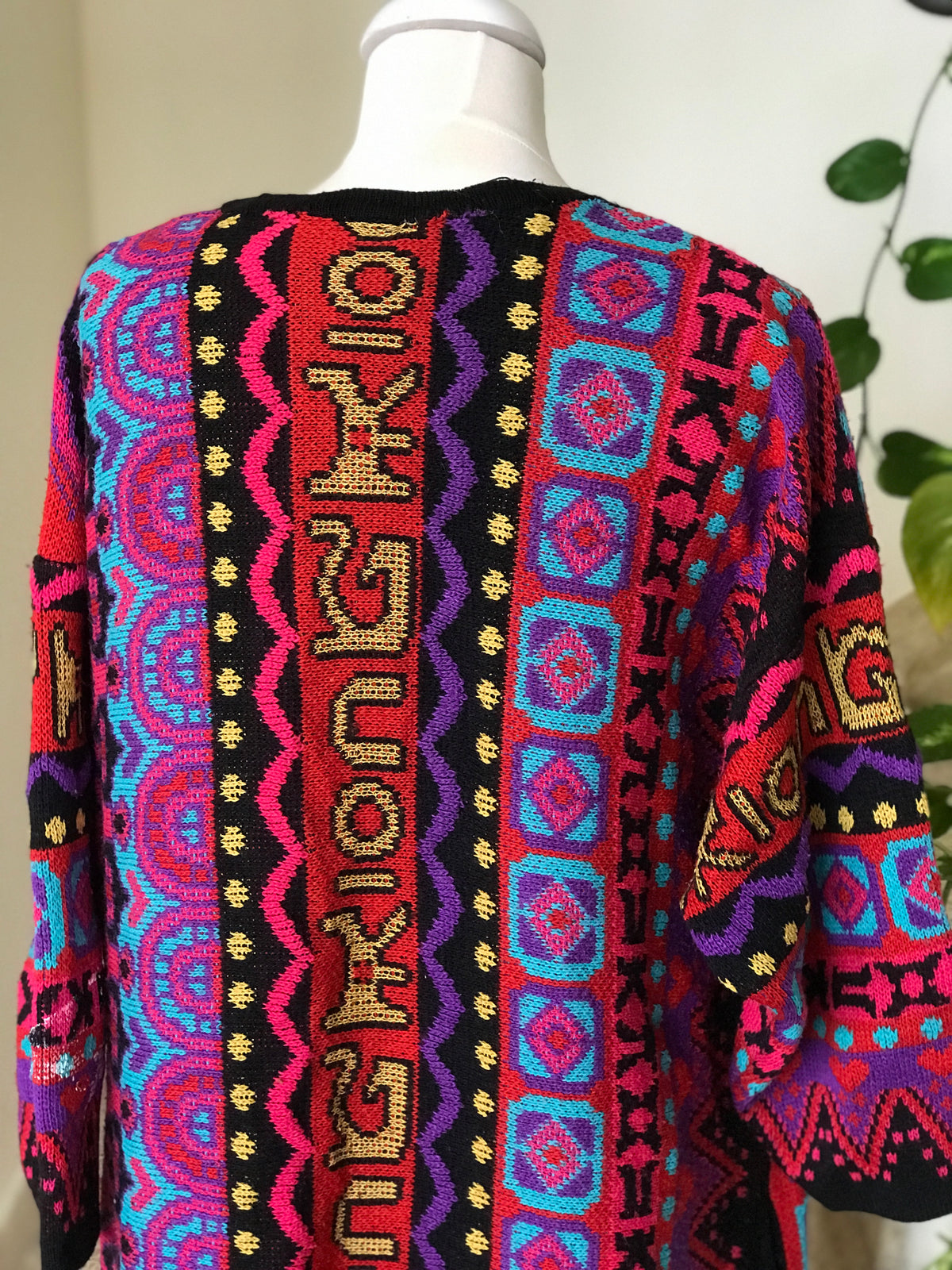 1980s Vintage Pop Art Patterned Cardigan Duster