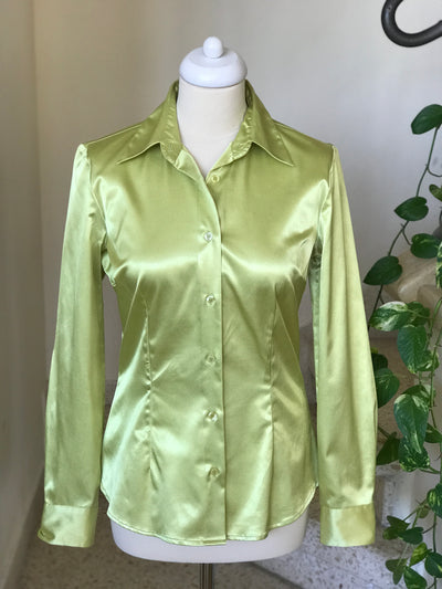 1980s Vintage Silky Neon Button Down Blouse