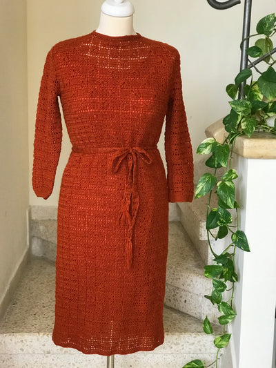 1970s Vintage Orange Crocheted Long Sleeve Belted Dress