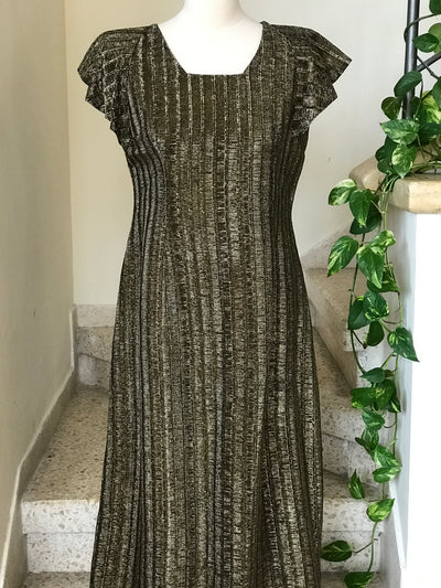 Vintage Sparkly Black and Gold Flutter Sleeve Evening Dress