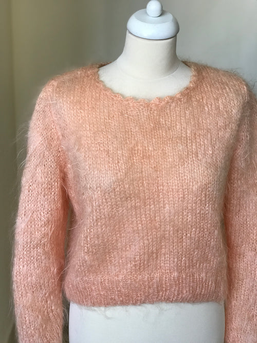Vintage Hand-Knit Fuzzy Pink Sweater