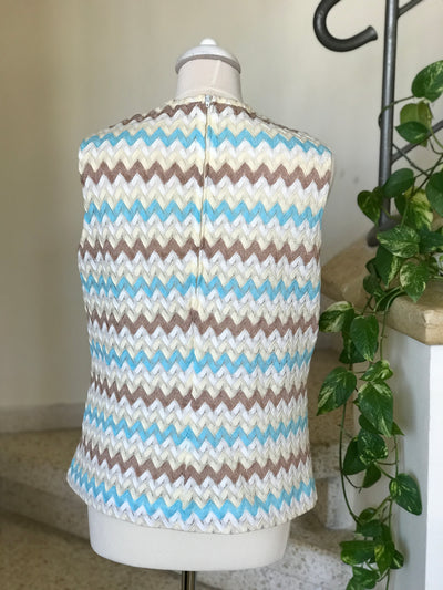 1960's Vintage Blue and Brown Knit Chevron Sleeveless Top