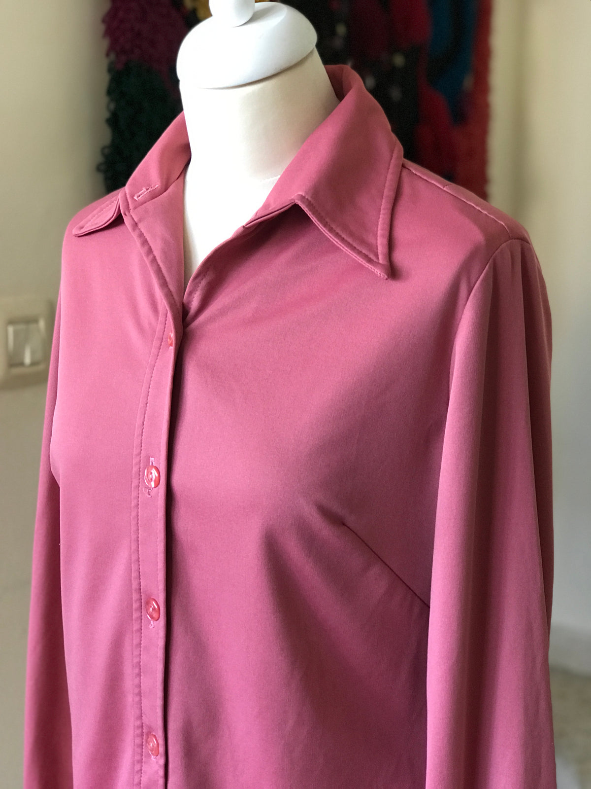 1970s Vintage Pink Button Down Blouse